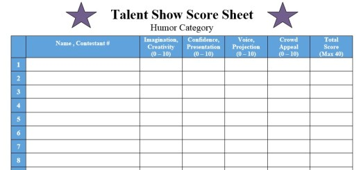 Sample Score Sheets – Printable Samples