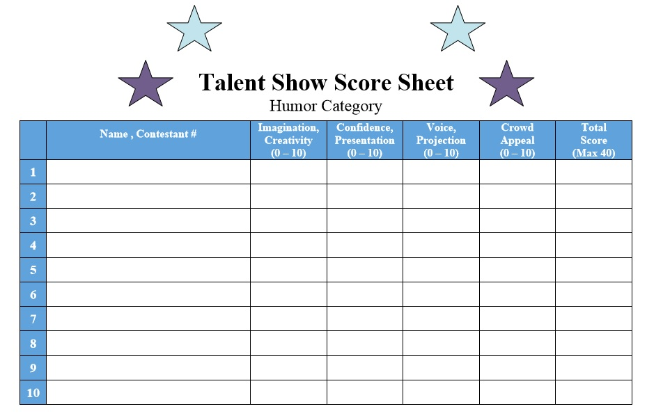 8 Free Sample Talent Show Score Sheet Templates Samples