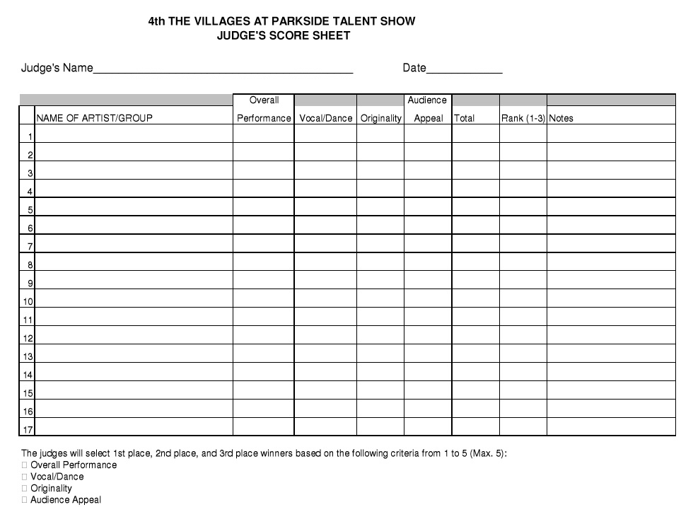 8 free sample talent show score sheet templates samples here is preview of another talent show score sheet templates samples template created using ms word pronofoot35fo Choice Image