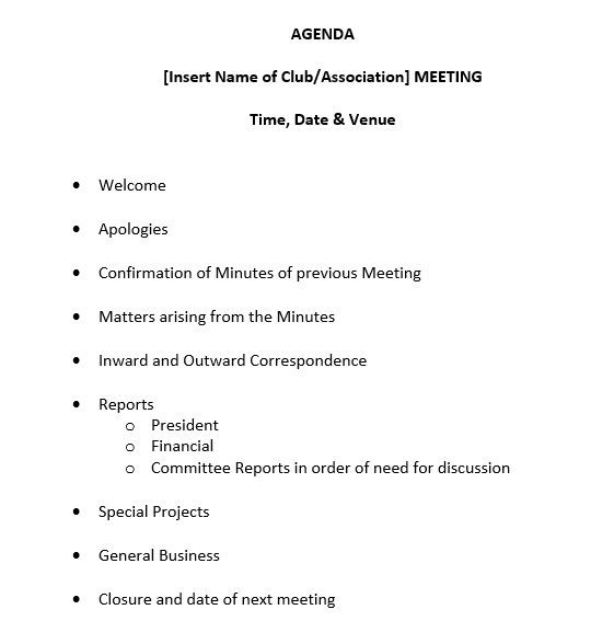 Free Sample Basic Meeting Agenda Templates  Printable Samples