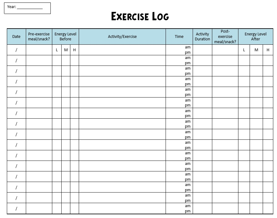 Free Sample Workout Log Templates  Printable Samples