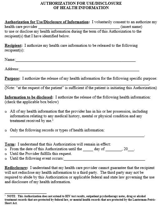 generic medical release form