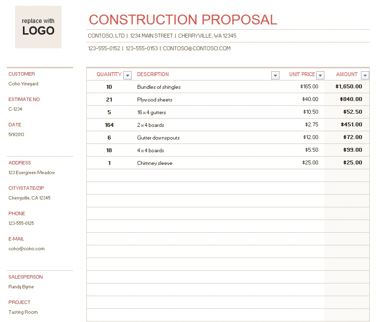 Free Sample Construction Proposal Templates  Printable Samples