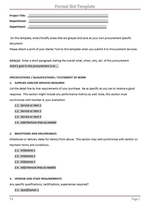 8 free sample project bid proposal templates printable samples