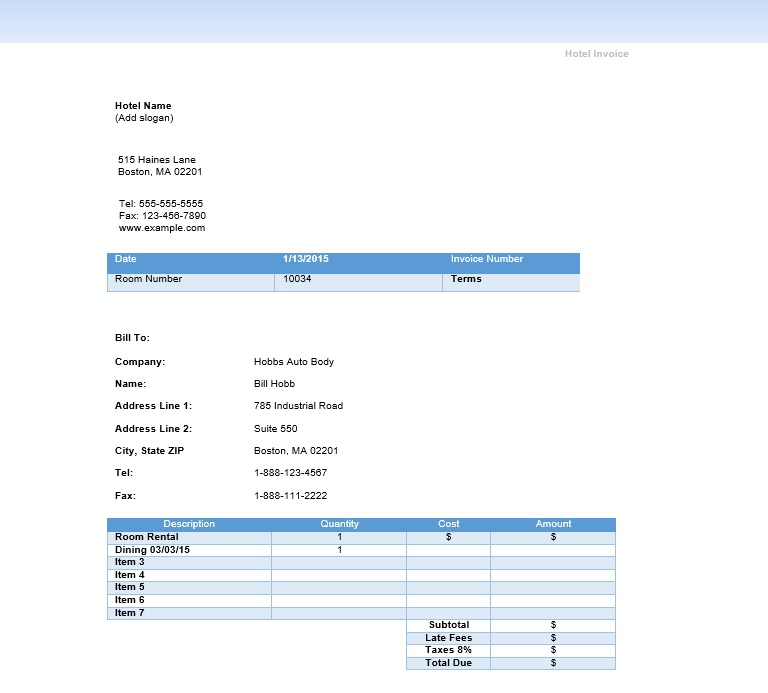 10 free sample professional hotel invoice templates printable samples