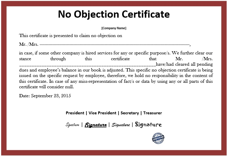 10 Free Sample No Objection Certificate Templates Printable Samples – Noc Sample Letter from Employer