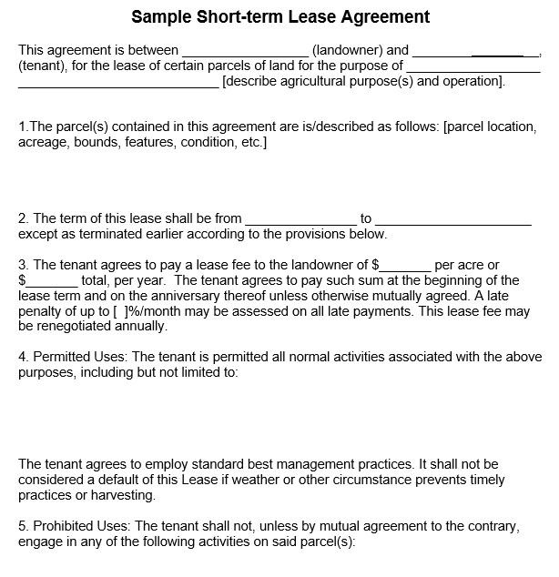 12 Free Sample Professional Farm Land Lease Agreement Templates