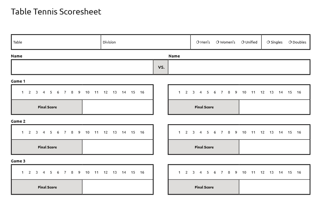 Table tennis tournament score sheet excel for Table tennis tournament template