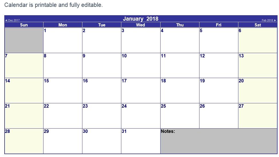 10 Free Sample Printable Calendar Templates For 2018