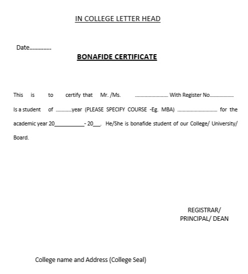 Sample letter to get bonafide certificate from college ...
