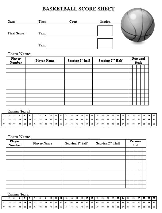 Free Sample Basketball Score Sheet Samples  Printable Samples