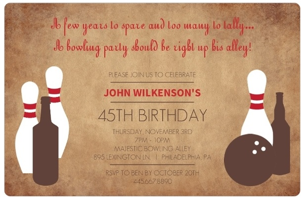Bowling Invitation Template. Sky Blue With Bowling Pins Bowling