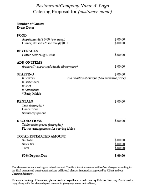 Here Is Preview Of Another Sample Catering Quotation Template Created Using  MS Word,