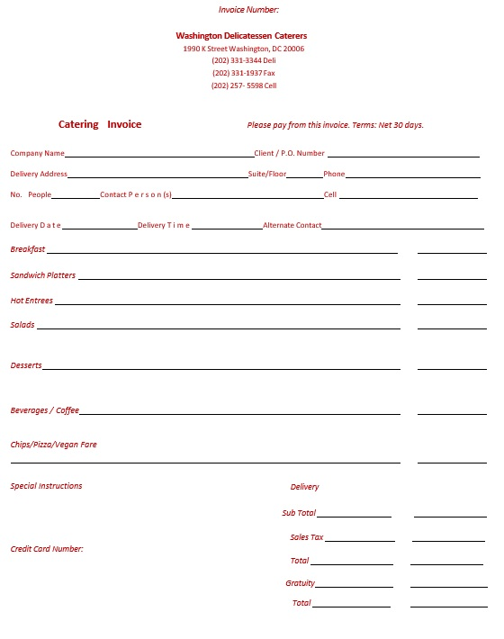 Here Is Preview Of Another Sample Catering Quotation Template Created Using  MS Word,  Catering Invoice Example