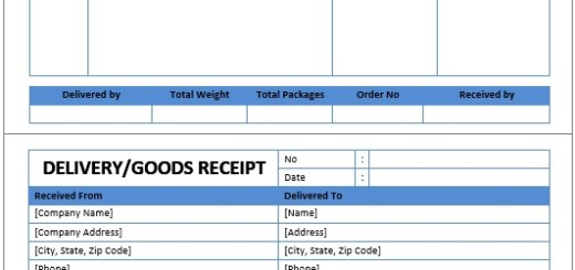 Receipt Templates Printable Samples – Sample Delivery Receipt