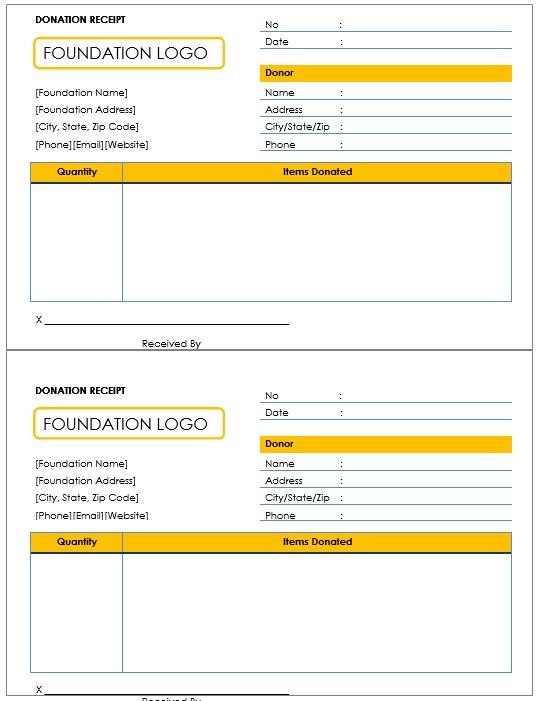 12 Free Sample Donation Contribution Receipt Templates Printable – Donation Receipt Template