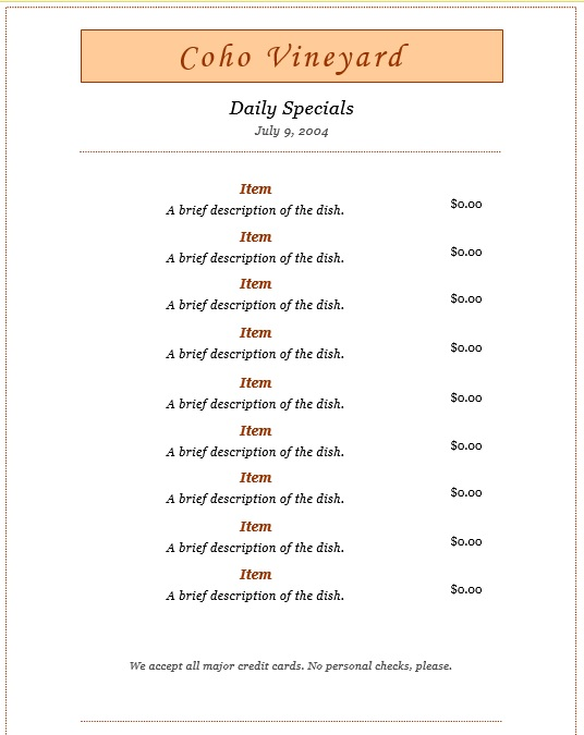 7 Free Sample Dinner Menu Templates – Printable Samples