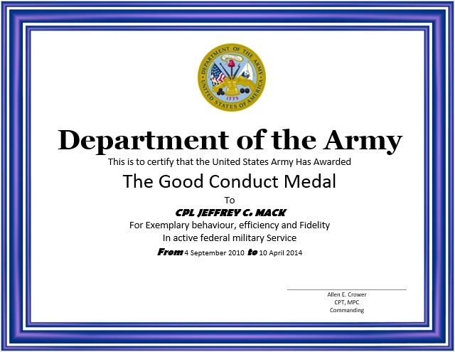 8 Free Sample Good Conduct Certificate Templates Printable Samples – Sample Certificate