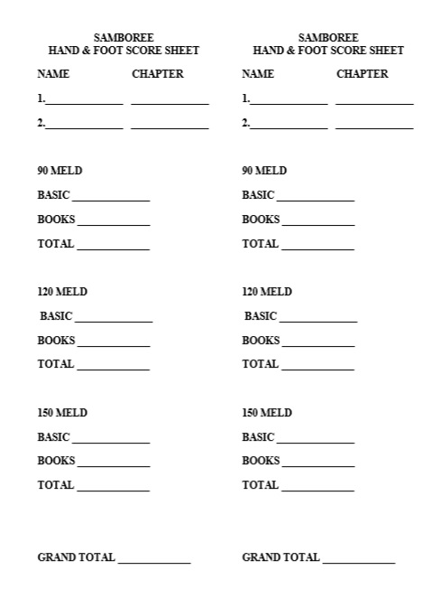 Free Sample Hand And Foot Score Sheet Samples  Printable Samples