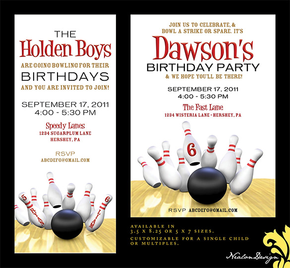 7 Free Sample Bowling Game Invitation Templates Printable Samples – Bowling Invitation Template