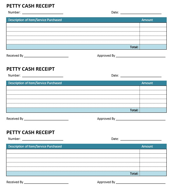 Free Sample Petty Cash Receipt Templates  Printable Samples
