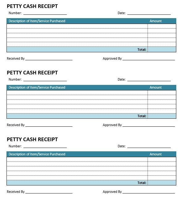8 Free Sample Petty Cash Receipt Templates  Petty Cash Receipt Template Free