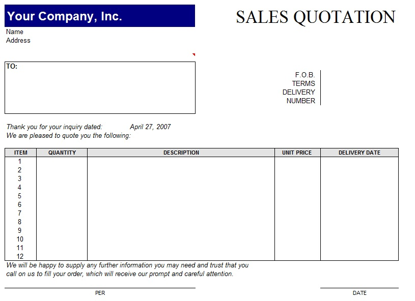 Quotation Sample Pdf Business Letter Format Quotation Business