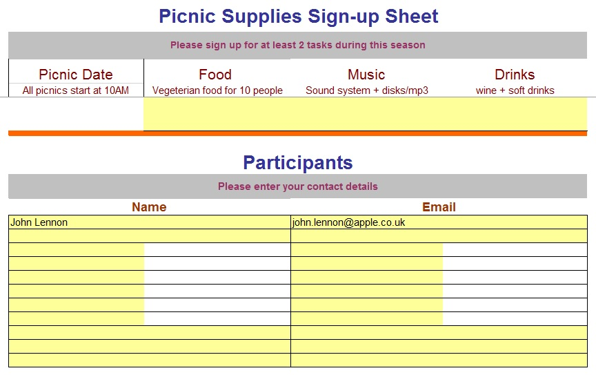 9 Free Sample Volunteer Sign Up Sheet Templates U2013 Printable Samples