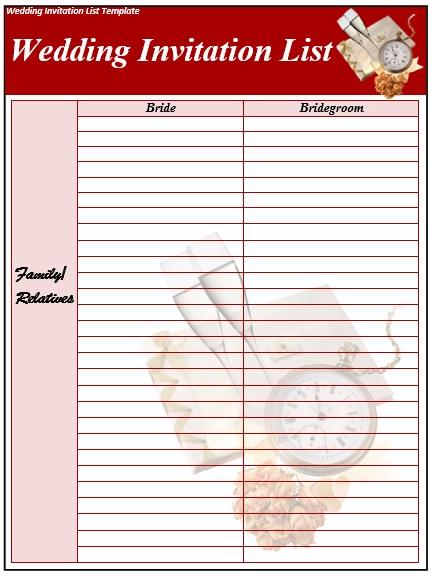 baby shower invite list template