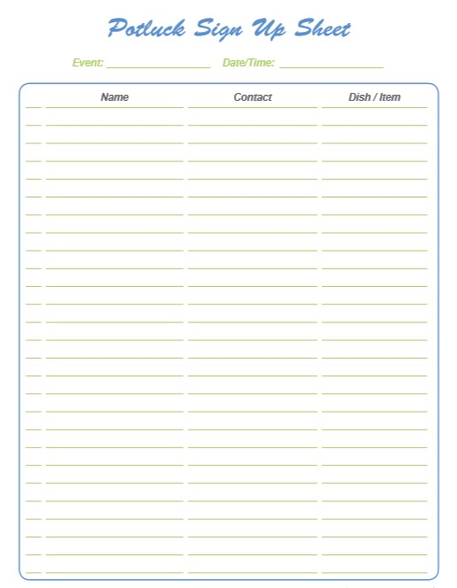 Sly image within printable potluck sign up sheet