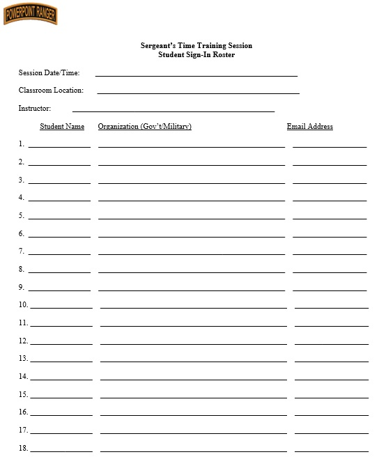 Here Is Preview Of Another Sample Army Training Sign In Sheet Template  Created Using MS Word,