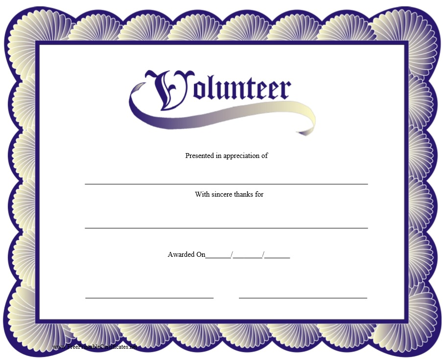 9 Free Sample Volunteer Certificate Templates