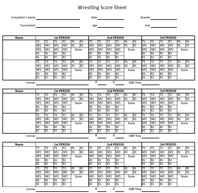 8 Free Sample Wrestling Score Sheet Samples – Printable Samples