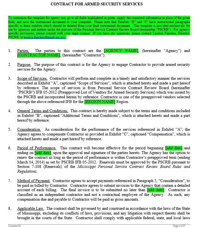 10 free sample security agreement templates printable for Security contracts templates