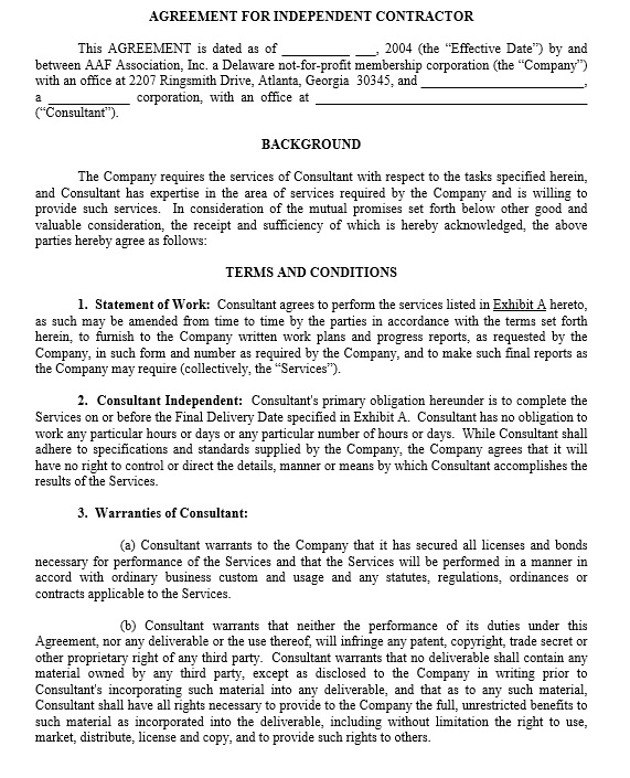 Free Independent Contractor Agreement Templates  Printable Samples