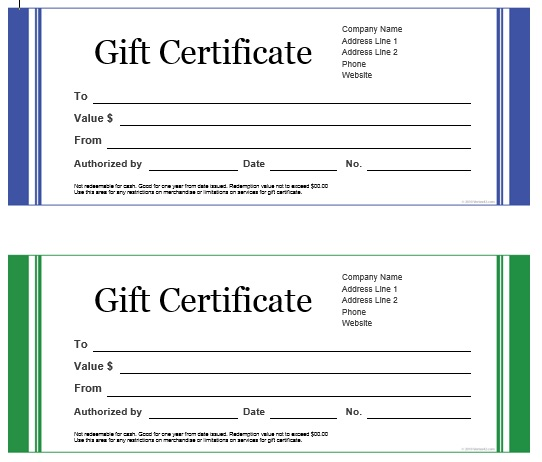 travel gift certificate templates