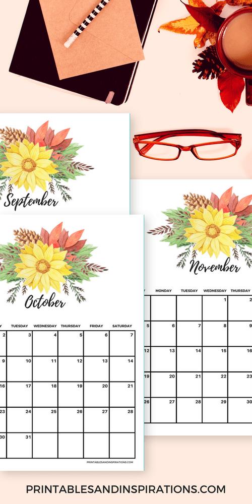 Free printable autumn calendar, weekly planner, monthly planner, blank calendar, watercolor