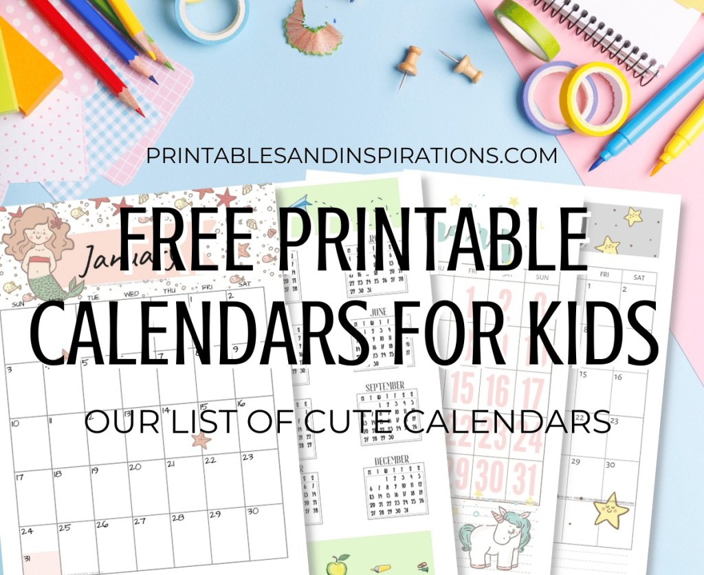 Free printable 2021 calendar for kids - cute calendar for 2021 #printablesandinspirations #backtoschool