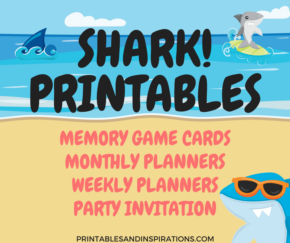 shark printables free planners game