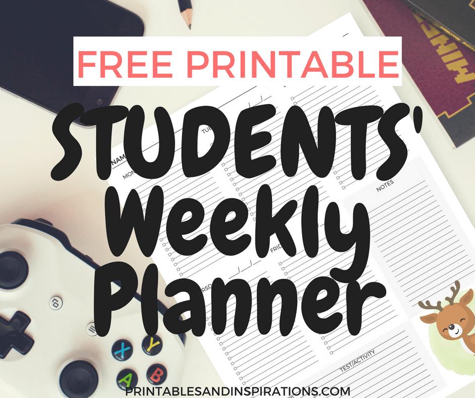 Student planner, free printable student weekly planner, teacher resources, homework organization