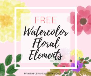 watercolor flowers, floral elements, graphics, freebies, design elements