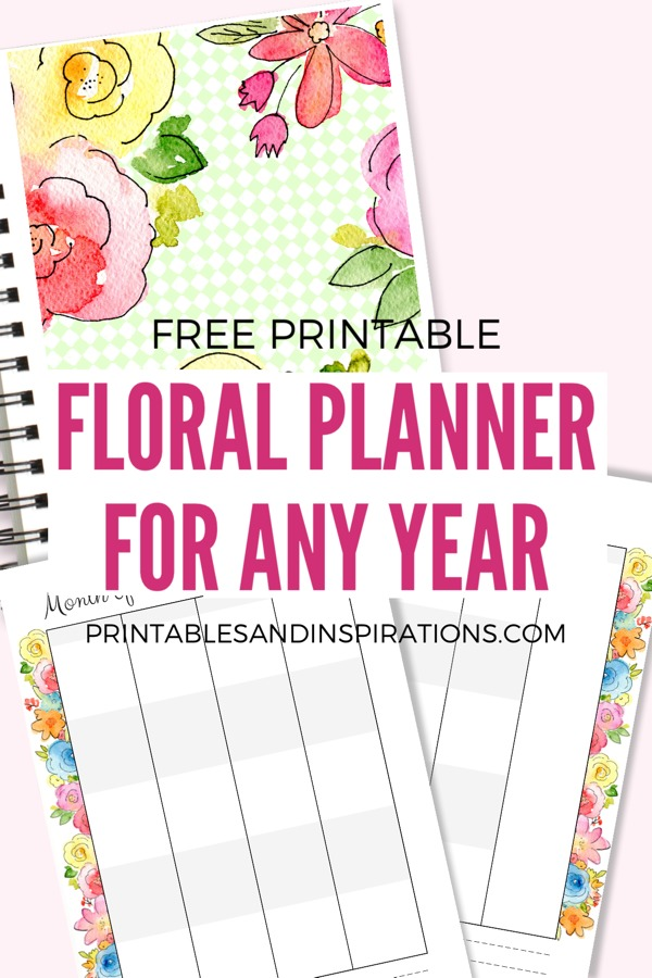 FREE Printable Planner Pages For Any Year! Halfsize mini planner in floral design, with monthly planner, weekly planner, journal pages, yearly plan for goal setting and future log, and dot paper for bullet journal layout