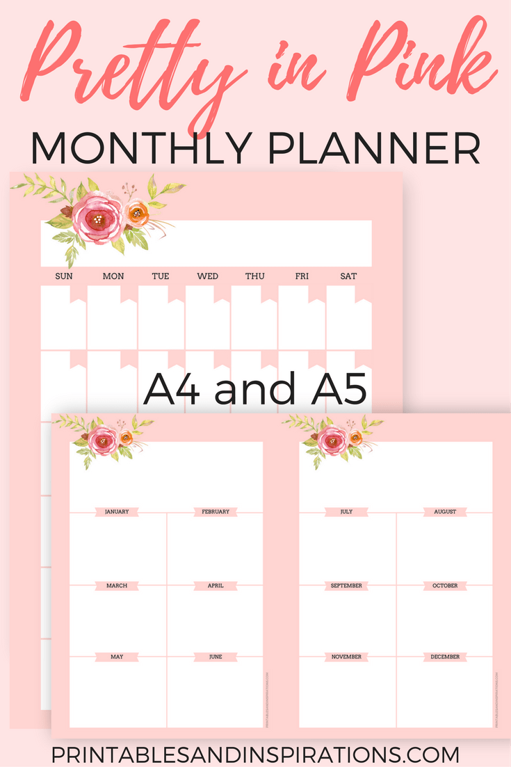 free printable pink planner pages for any year