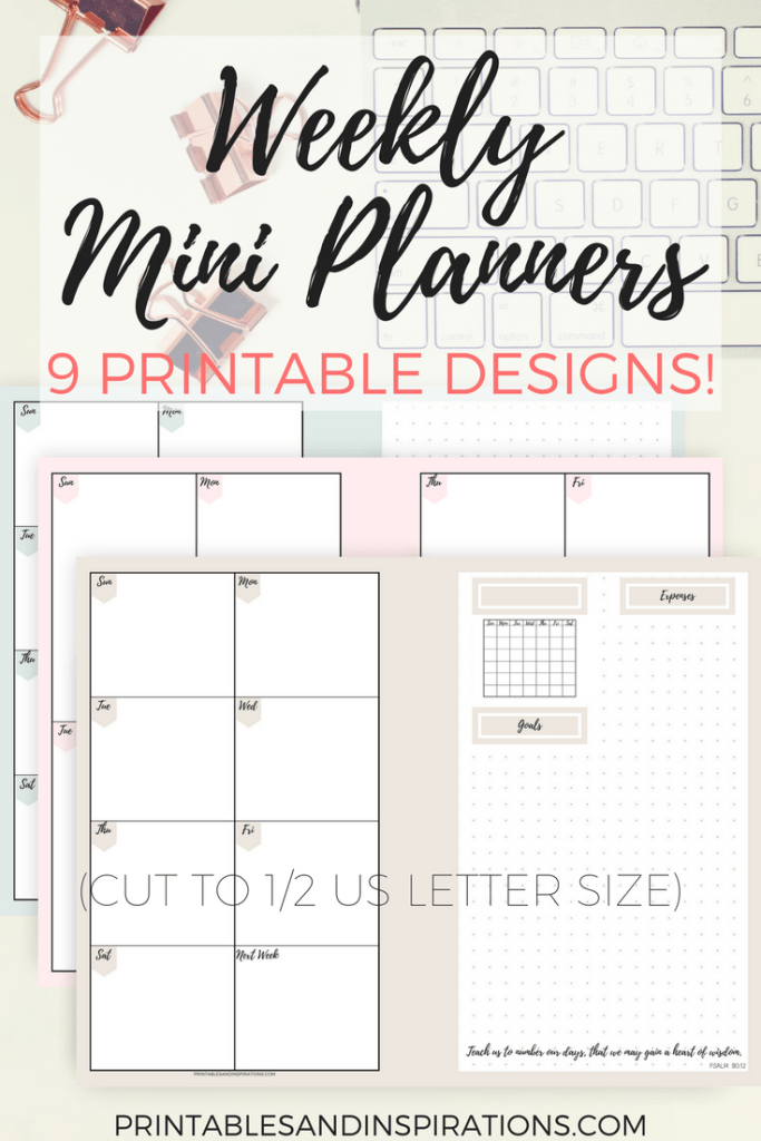 Weekly planner, my personal mini planner in pastel colors, free printable planner in 9 designs