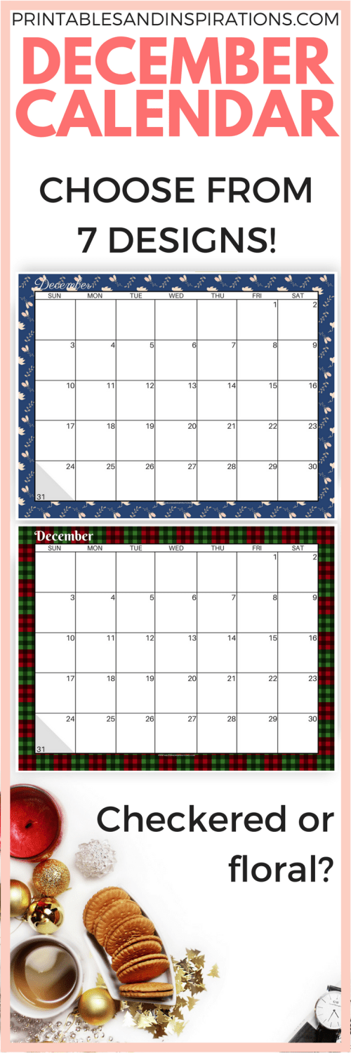 free printable December calendar 2017 | December planner | monthly spread | free calendar for December