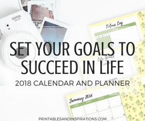 goal setting pages, goal setting worksheets, success planner, 2018 calendar, free printables, bullet journal ideas