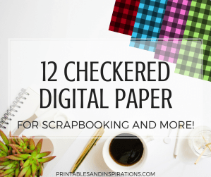 Free checkered digital paper for scrapbooking and planner divider