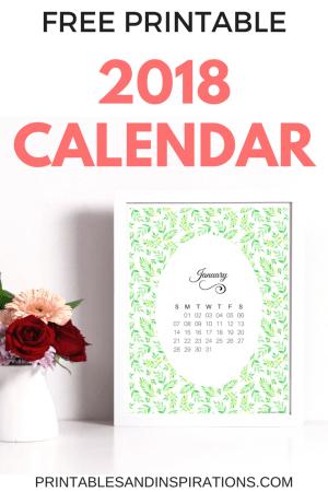 Free printable green 2018 calendar, monthly calendar, planner printables, monthly planner layout, 2018 planner