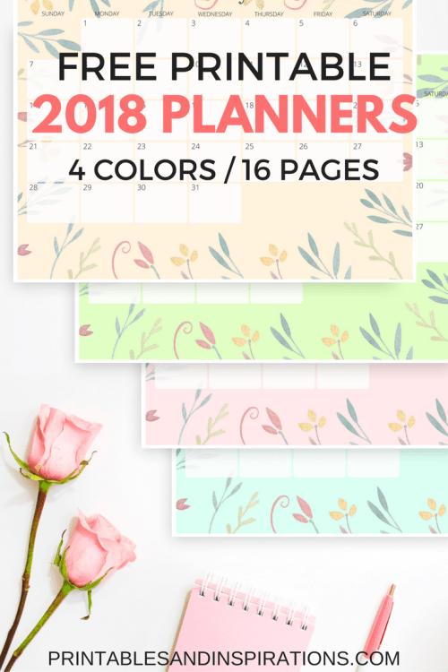 free printable 2018 calendar, 2018 horizontal planner, monthly planner, weekly planner, daily planner, notepad, 2018 planner printables in pastel colors, pastel calendar