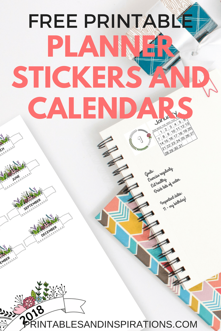 image about Free Planner Sticker Printables called 2019 Free of charge Printable Planner Stickers And Calendars